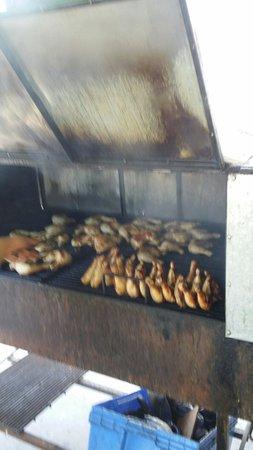 Ferron's Jerk Chicken: Cooking chicken...