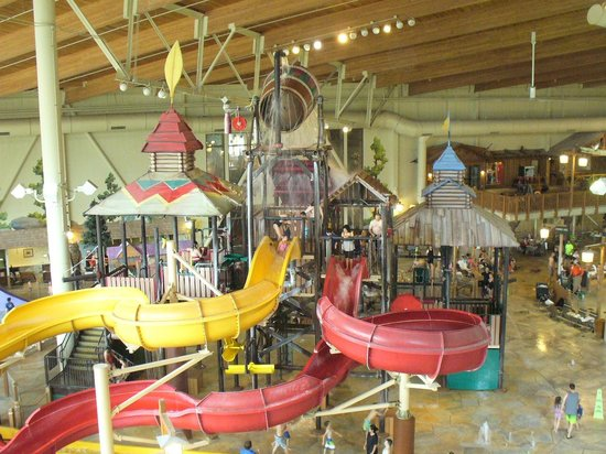 Great Wolf Lodge: small water slide and 1000 gal water dump at the top