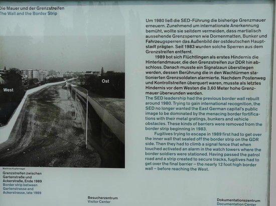 Gedenkstätte Berliner Mauer: Panel informativo