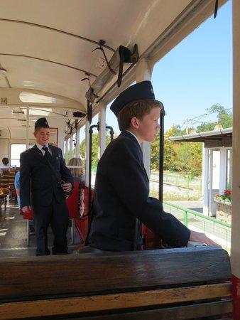 Kindereisenbahn, Budapest: children working in the train