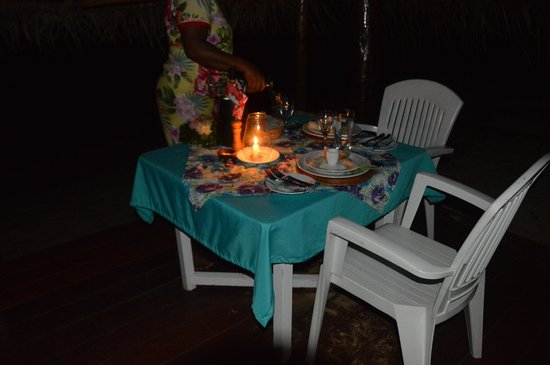 Coconut Grove Beachfront Cottages : Our special dinner. This is included with meal package. The lamb was unreal!!