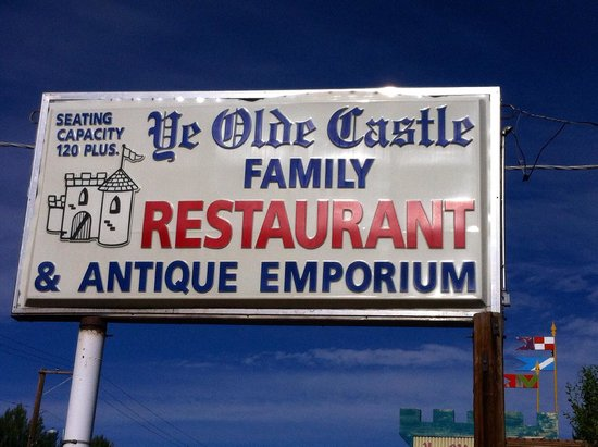 Ye Olde Castle Sign In Front Of Restaurant From Street