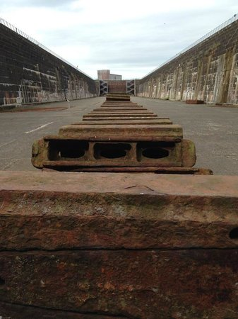 Titanic's Dock and Pump-House: Original support blocks for the Titanic.