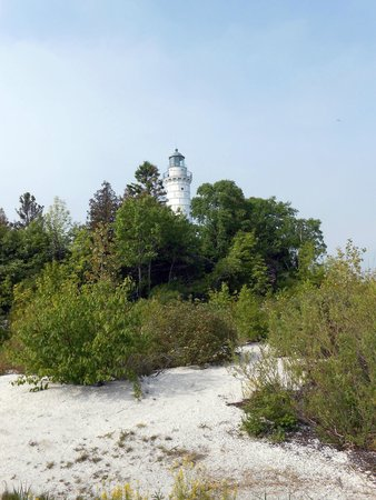Cana Island Lighthouse: View from Lake Michigan shoreline