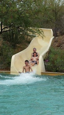 The Ritz-Carlton, Dove Mountain: My husband and two boys enjoying the waterslide