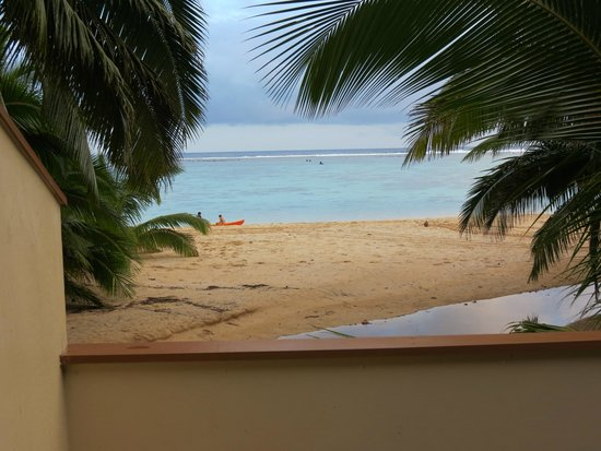 Palm Grove: from the balcony of beach Bungalow.