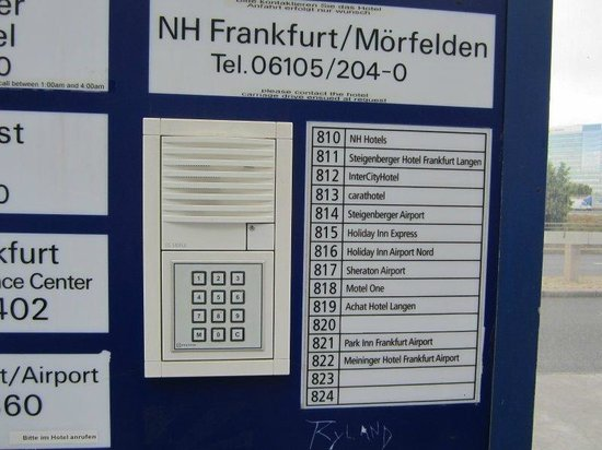 MEININGER Hotel Frankfurt/Main Airport: Outside terminal 2, follow shuttle signs and then click the button for the Meininger.