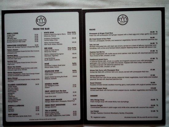 Karavansara Retreat & Residences : Restaurant full menu 2