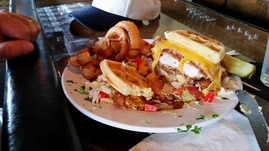 The Griffon Gastropub: Chicken and Waffle Sandwich!
