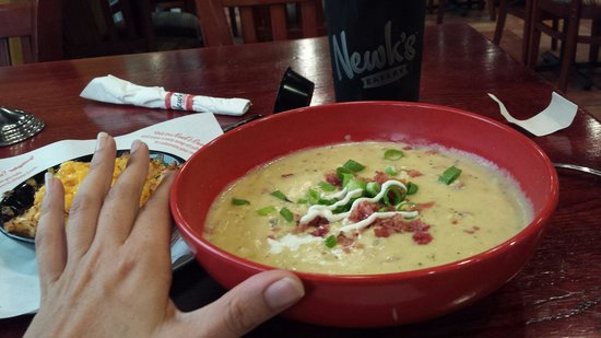 Newk's: Not a normal size soup bowl! Loaded potato is their best seller and my tounge agrees.