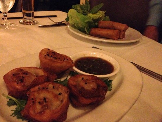 Le Colonial: Cha Gio Vit: Duck Confit Springrolls and Banh Hap So Diep: Seafood Potstickers
