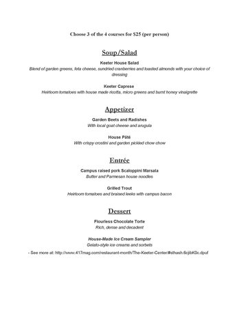 Dobyns Dining Room: 417 magazine restaurant month menu for Monday through Thursday dinner in August 2014, stop in fo