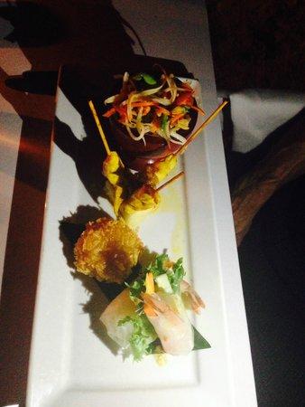 Renaissance Koh Samui Resort & Spa: Chicken Satay Shrimp cake Papaya salad & Vietnamese Spring Roll with