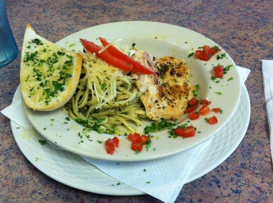 Cottage Salad Station and Deli : Chicken Breast over Pesto Pasta