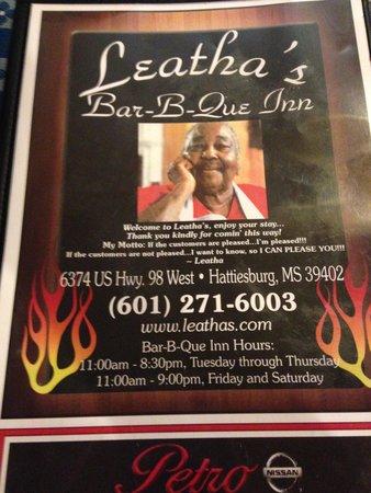 Leatha's Bar-B-Que Inn: Menu Cover