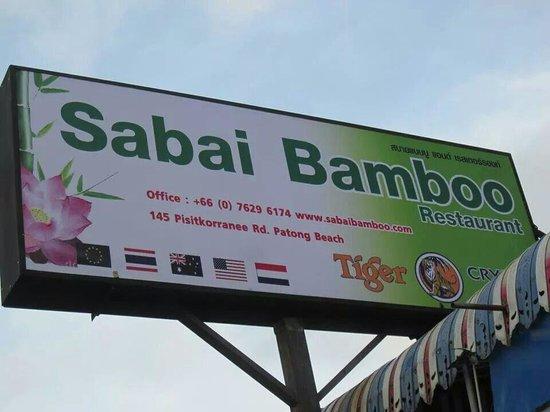 Sabai Bamboo Guesthouse: Sabai Bamboo sign.