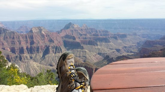 Grand Canyon Lodge - North Rim: Kicking my feet up on the rim-view porch adjacent to the Lodge building