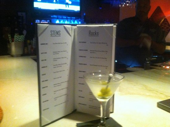 Fuse: (Drink menu)dirty martini with stuffed blue cheese olives