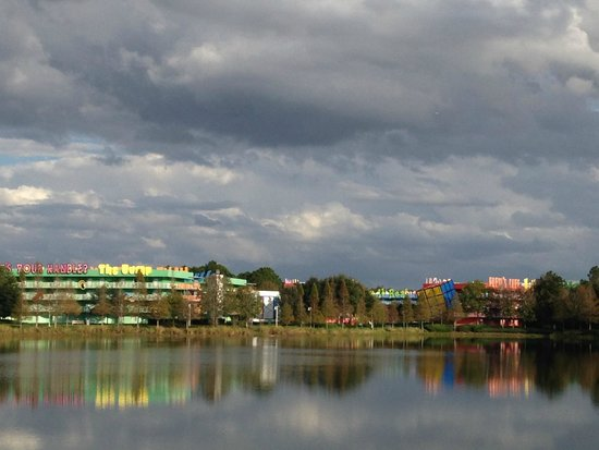 Disney's Pop Century Resort: View of Pop Century from Art of Animation (across lake)