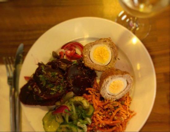The Stuffed Olive Food & Wine Store : Thai Scotch Egg & Salad Plate
