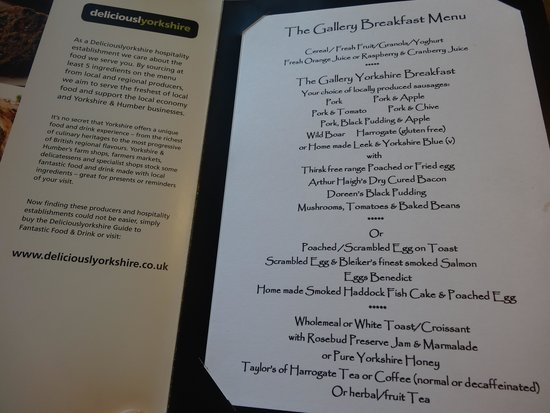 The Gallery Bed & Breakfast: the lovely locally-sourced b'fast menu
