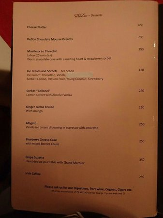 DeDos: menu