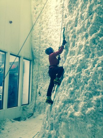 Ice Factor: Me having a crack at the wall in the big freezer