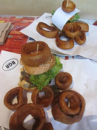 BGR The Burger Joint: Two Veggie Black Bean Burgers with Onion Rings