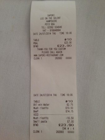Sapori Italian Restaurant: The bill for horrible food that was returned