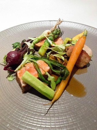 Winteringham Fields: Veal with vegetables from their own fields.