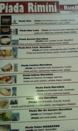 RUNBAR Piadineria : menu