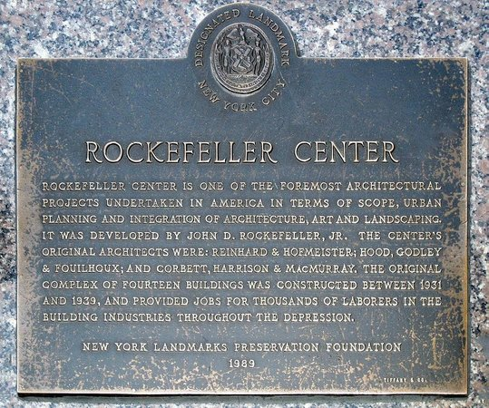 Rockefeller Center's landmark plaque