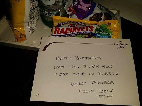 Residence Inn by Marriott Boston Back Bay/Fenway : Happy Birthday