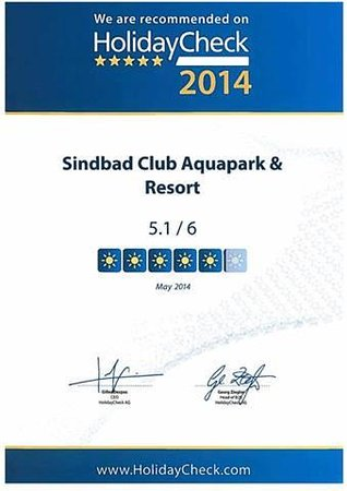Sindbad Aqua Hotel & Spa : Travelers Choice Award Holidaycheck 2014