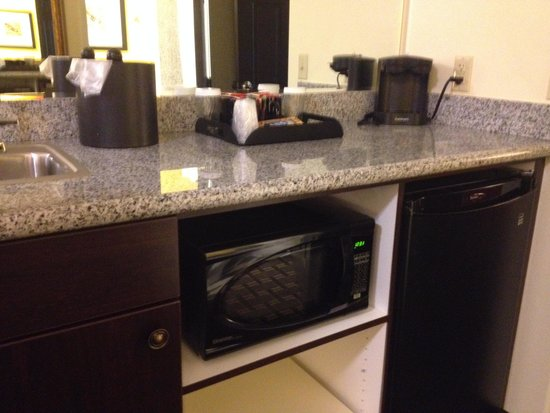 Evangeline Downs Hotel: fridge / sink area.