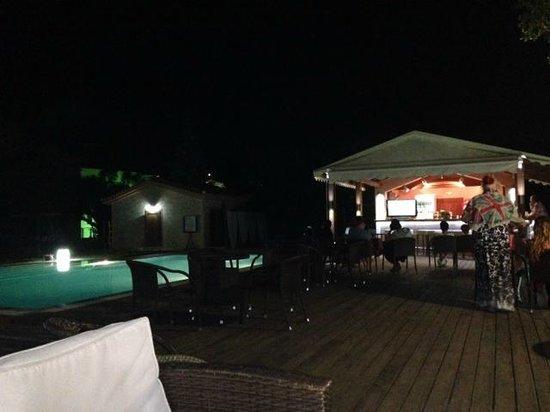 """Olive Grove Estate """"Eleas Gi"""": Pool and bar area at night."""