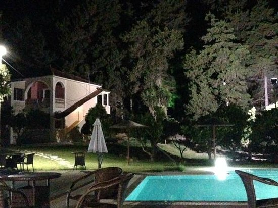 """Olive Grove Estate """"Eleas Gi"""": At night lanterns light up the grounds."""