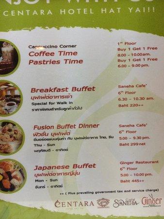 Centara Hotel Hat Yai: hotel buffet price