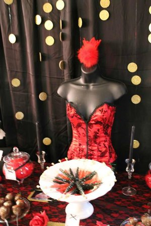 Overview of dessert table from burlesque themed birthday party