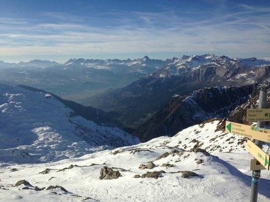 Le Brevent Cable Car : At the very top looking South into France. Ski/hiking trails start here and go down towards Cham