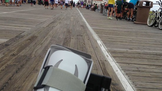 Ocean City Boardwalk: The OC boardwalk from wheelchair perspective on a quiet day