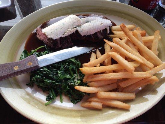 Bay View Bistro: Flat iron steak medium $19.00