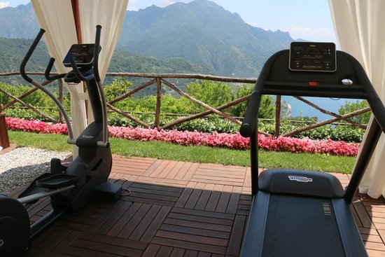 Palazzo Avino: the gym, not too shabby of a spot to workout