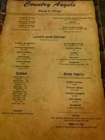 Polk City, FL: Menu from July 2014 Visit