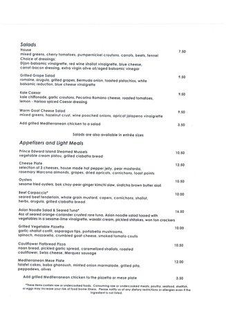 Carpe Diem Restaurant & Caterers : Menu 1 of 2