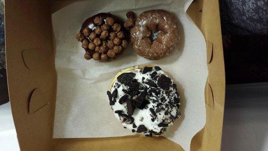 Voodoo Doughnut Too: Triple Choc, Choc glazed and Dirt