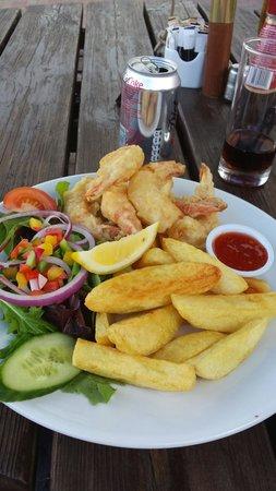 The Boat House Brasserie: Tempura king prawns. Delicious!