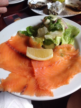 Aherne's of Youghal: Fresh smoked salmon . Only downside was no creme fraiche or capers .