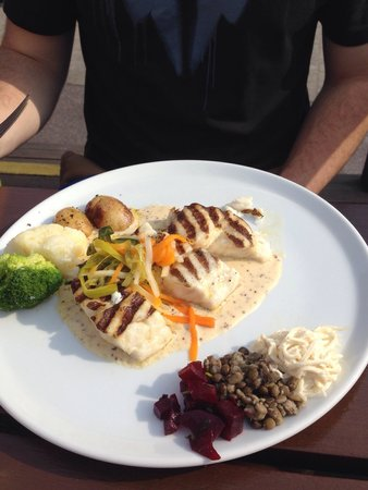 Out of the Blue Seafood: Grilled Hake in a creamy mustard sauce