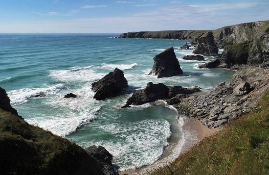 Carnewas and Bedruthan Steps: A view to the north of the Bedruthan Steps.